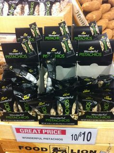 Snack size bags of Wonderful Pistachios