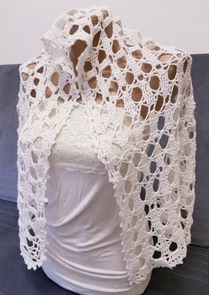 Bridal Lacy pattern Shawl / Wrap/ Poncho Lovely white cozy hand knit-Cowl - Scarf, head covering Synagogue, Church soft elegant cape, throw