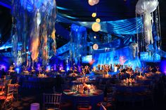 Under the Sea for this Gala in Greenwich, CT with jellyfish floating overhead and coral centerpieces on the tables