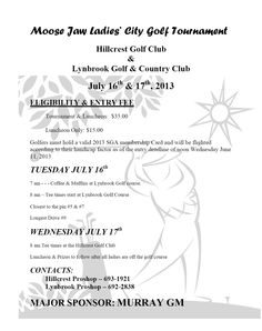 Hillcrest & Lynbrook Golf & Country Clubs with Major Sponsor Murray GM host Ladies' City Golf Tournament! City Golf, Golf Clubs, Events, Country, Rural Area, Country Music
