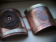 Etched Metal & Leather Bracelet. $165.00, via Etsy.