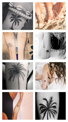 Some ideas for a palm tree tattoo. I like tattoos that commemorate places I've lived or times in my life so this would be my California tattoo. I think I like the back of ankle placement best.