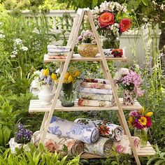We'll take one of each of these beautiful floral towels--and the garden, too, please! Unique Garden Decor, Unique Gardens, Beautiful Gardens, Beautiful Homes, Savannah Bee Company, Three Season Room, Small Courtyard Gardens, Victoria Magazine, Bookcase Styling