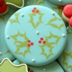 Rustic Holly Cookies; These cookies look great on their own or mixed with other simple designs like holly leaves.