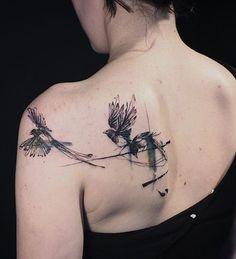 Tattooer Nadi magpie bird tattoo