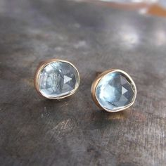 Rose Cut Aquamarine 14k Gold Stud Earrings... they would go so well with my Valentine's Day birthstone ring :)