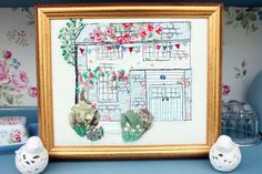 CUSTOM Free Motion Embroidery Of  Your House - Great House Warming Gift. Personalised.