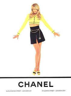 Chanel, Claudia Schiffer, photo by Karl Lagerfeld, 1995 Chanel Fashion, 90s Fashion, Runway Fashion, High Fashion, Vintage Fashion, Ladies Fashion, Moda Vintage, Vintage Mode, Claudia Schiffer