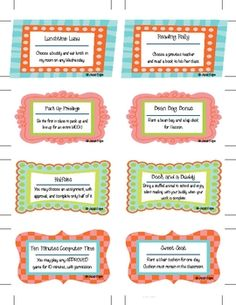 """Ultimate Treasure Box- After getting lots of ideas from all over the place, I created these fun """"treasure box"""" cards as an alternative to toy prizes. Organization And Management, School Organization, Beginning Of The School Year, Back To School, Creative Teaching, Teaching Ideas, Classroom Behavior Management, Treasure Boxes, School Resources"""