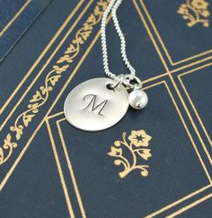 Mothers Day Sterling silver Initial necklace $26.00