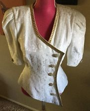 Julie Duroche After Five NWT Ivory Top Gold Jeweled Buttons Trim BRIDAL EVENING