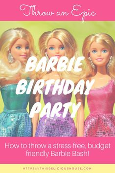 Barbie Birthday Party - Save Money and Time! - This Delicious House If you're looking for a great birthday theme for your daughter, a Barbie birthday is the way to go! Check out these great finds for a Barbie birthday party! Barbie Birthday Party Games, Barbie Theme Party, Trolls Birthday Party, Frozen Birthday Party, Unicorn Birthday Parties, Birthday Fun, Birthday Party Themes, Birthday Ideas, Doll Party