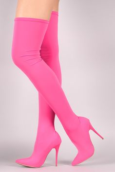 Shop These over-the-knee boots feature a pointy toe silhouette, fitted elastane shaft, and slim stiletto heel. Thigh High Boots Heels, Knee Boots, Bootie Boots, Pink Knee High Boots, Pink Boots, Prom Heels, Nylons, Sneaker Heels, Clearance Shoes