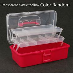 The Transparent Plastic Toolbox Medicine Box Color Random art box for studentart craft boxes for kids 1pc
