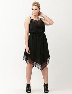 plus size lace hem slip dress