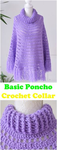 Learn To Crochet Basic Poncho With Crochet Collar
