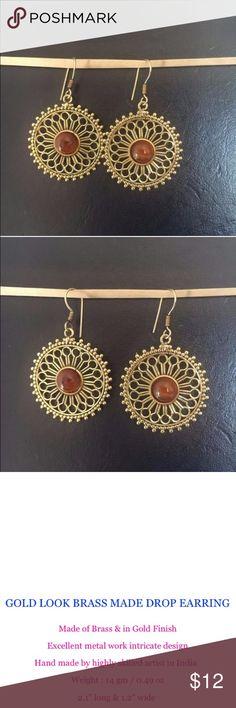 tribal brass earrings Antique gold stone earring Ref pic 3 Jewelry Earrings