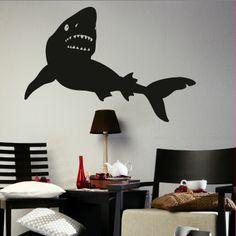 bedroom shark wall mural decal | large shark big wall art sticker stencil bedroom decal fi33