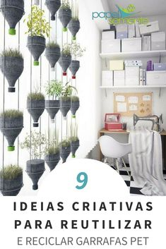 9 idéias criativas para reutilizar e reciclar garrafas PET - Aula de artes - Deco Floral, Arte Floral, Handmade Crafts, Diy And Crafts, Arts And Crafts, Decoration For Ganpati, House Lamp, Bottle Crafts, Diy Home Decor