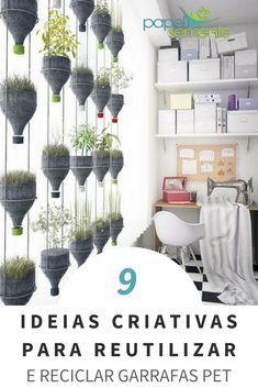 9 idéias criativas para reutilizar e reciclar garrafas PET - Aula de artes - Deco Floral, Arte Floral, Handmade Crafts, Diy And Crafts, Arts And Crafts, Decoration For Ganpati, House Lamp, Bottle Crafts, Diy Home Decor