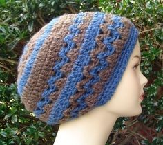 Slouchy Beanie Crochet Pattern | Brown Warm Dreadlock Hippie Slouchy Beanie Beret Tam Hat in Crochet ...