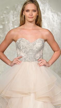 watters brides spring 2016 bridal strapless sweetheart neckline metallic embroidery bodice blush color horsehair trim ball gown wedding dress style meri oatmeal