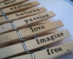 Hand Stamped Clothespins Tutorial. Perfect to hold gift tags on presents.
