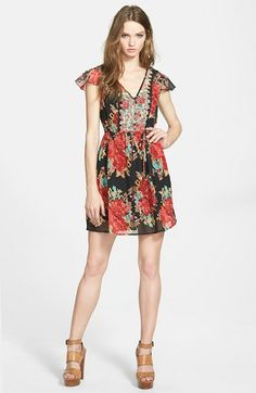 Free shipping and returns on Band of Gypsies Mixed Floral Dress at Nordstrom.com. Tonal embroidery underscores the floral-print medley of a vibrant chiffon dress featuring a V-neck bodice with fluttery cap sleeves and an A-line skirt.