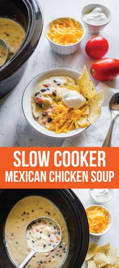 Slow Cooker Mexican Chicken Soup - an easy to throw together soup in the crockpot. And you only need a few ingredients on hand. Yum!