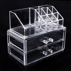 Recém $ 36,60 Gaveta Design Composição armazenamento caso três camadas de maquiagem Nail Art Lipstick Box Escova de armazenamento - BornPrettyStore.com