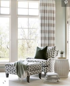Black and white block print chair and matching ottoman in a cottage bedroom corner accented with a black velvet pillow. New Furniture, Custom Furniture, Furniture Design, Upholstered Furniture, Pine Dining Table, Minnesota Home, Cottage Renovation, Red Walls, Plaid