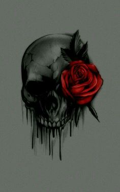 Skull With Rose Tattoo Design Skull Roses Tattoo, Skull Tattoos, Body Art Tattoos, Tattoo Drawings, Sleeve Tattoos, Tribal Rose Tattoos, Tatoos, Tattoo Fairy, Totenkopf Tattoos