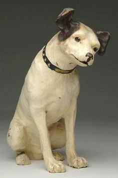 advertising, Ohio, A papier-mache [paper mache] RCA Victor Nipper mascot dog. Well-known original mascot by Old King Cole Papier-Mache Company of Canton, Ohio in original paint and retains most of original decal on underside.