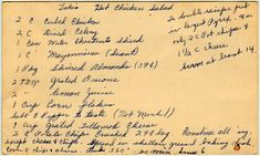Lola's Hot Chicken Salad - Lots of old recipes from the past. Recipes are typed out so you don't have to decipher the original handwritten cards. yesterdish.com