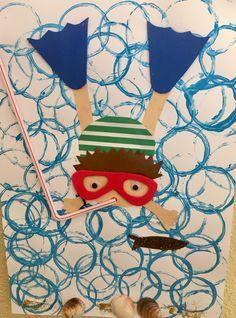 Summer Crafts For Kids, Summer Art, Spring Crafts, Art For Kids, Kindergarten Art, Preschool Crafts, Sea Crafts, Paper Crafts, Art Lessons Elementary