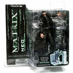 """NEO #1 action figure from The MATRIX Movie by MCFARLANE TOYS by McFarlane Toys. $26.99. AWESOME DETAIL - just like in the movie where he's dodging the bullets. Includes lobby scene base. 6-7"""" scale. Includes a Gun. SWEEEEET!. Keanu Reeves as NEO dodging bullets action figure from the Movie - THE MATRIX. Based on the famous lobby shooting scene from The Matrix. Figure includes several weapons and a beautiful snap-together base.  The Wachowski Brothers' 1999 bloc..."""