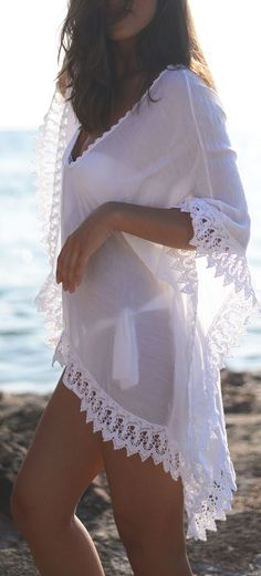new V neck Beach Kaftan dress Swimwear Sarongs Sexy Bikini white sweet lace side Bathing Suit Cover up women loose swimsuit Sexy Bikini, Bikini Modells, Bikini Cover Up, Swimsuit Cover Ups, Lace Swimsuit, Bikini Dress, White Swimsuit, Women Bikini, Swim Cover