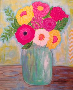 Flowers in Mason Jar Original Painting, Mother's Day Gift 11x14 Colorful Flowers Acrylic Painting on Etsy, $86.00