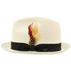 014991e5661 SK Hat shop Men s Light Removable Feather Derby Fedora Wide Curled Brim Hat  Review