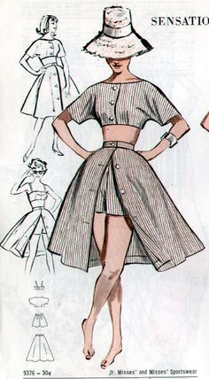 Butterick 9376 vintage sewing patterns fandom powered by wikia free style sewing patterns Fashion Sewing, Diy Fashion, Ideias Fashion, Skirt Fashion, Fashion Dresses, Fashion Tips, 1950s Fashion, 1950s Summer Fashion, Fashion Mask