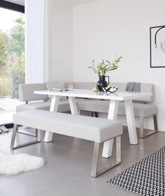 Create an open, airy and light feel to your home with the Dover Corner Bench Set. Pair cool grey faux leather with the high gloss white Zen dining table for a simple yet stylish interior. Corner Bench Dining Set, Dining Bench With Back, White Dining Room Table, 6 Seater Dining Table, Kitchen Table Bench, Corner Seating, Dining Room Bench, Bench Set, Dining Furniture