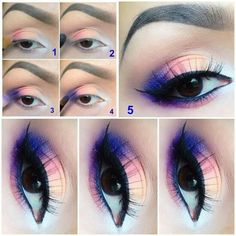 OMG. LOVE. Purple, pink, white eyes. Blended. Long thin feathery lashes. Cosmetics. Makeup Tutorial.