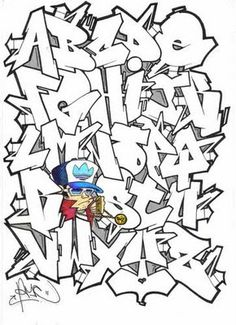 Graffiti Alphabet On Paper - Graffiti writing alphabet on paper | Graffiti Fonts http://graffitialphabet.eu/graffiti-alphabet-on-paper/