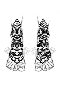 Blackwork feet mandala ornamental bold lines tattoo design. Follow me on my blog to join all my tips and tricks about tattoos.