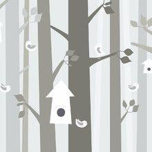 Fototapet - Bird Forest - Beige