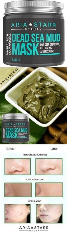 Aria Starr Dead Sea Mud Mask For Face - Aria Starr Dead Sea Mud Mask For Face, Acne, Oily Skin & Blackheads - Best Facial Pore Minimizer, Reducer & Pores Cleanser Treatment - Natural For Younger Looking Skin #BLACKHEADSMASK #BEAUTY #ACNEMASK #DEADSEA #dea
