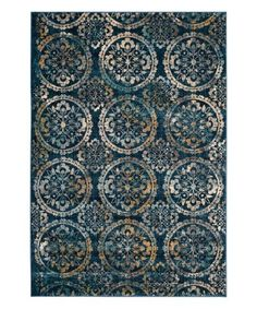 Look at this #zulilyfind! Navy & Cream Medallion Halsey Rug #zulilyfinds