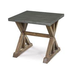Lybrook Aged Zinc and Antique Natural Wood Rectangular End Table Bella cor   $389.    30Wx8 H x 28.5 deep