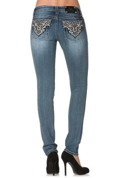 2d3d622c75 Abstract Parisian Motif Skinny Jeans by missme, size 25. ABSOLUTELY  GORGEOUS BACK POCKET!