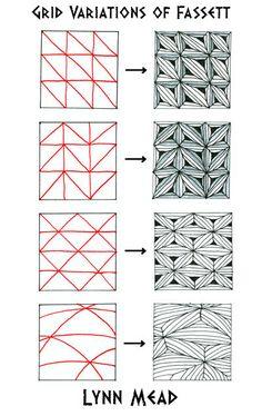 Online instructions for drawing Lynn Mead's Zentangle® pattern: Fassett.